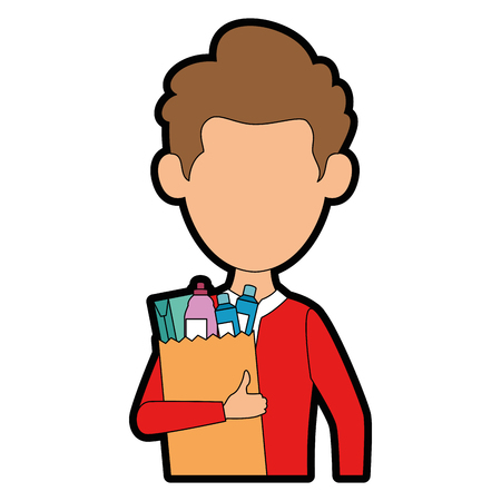 man with bag of groceries vector illustration design Stock Vector - 87998062