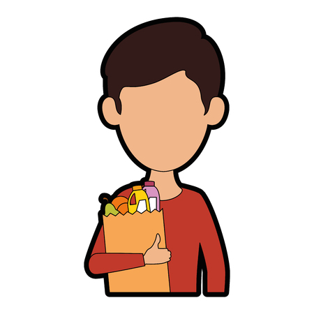 man with bag of groceries vector illustration design Stock Vector - 87998063
