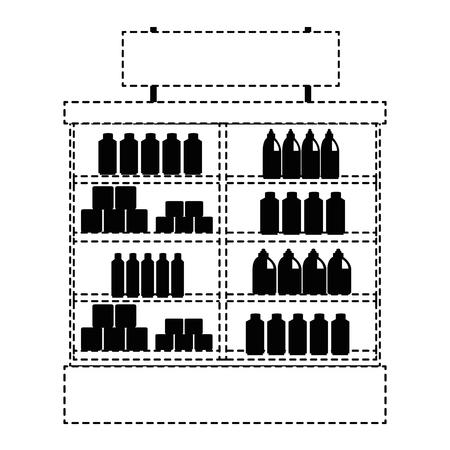 Supermarkt koelkast met producten vector illustratie ontwerp Stockfoto - 87998073