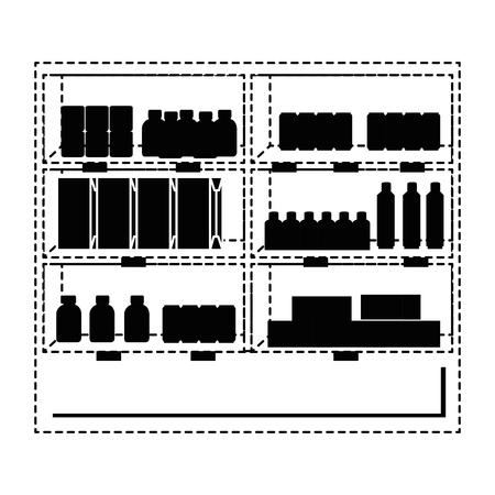 Supermarkt koelkast met producten vector illustratie ontwerp Stockfoto - 87998088