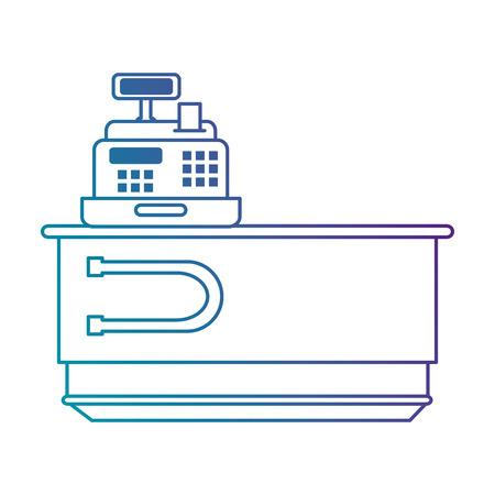 supermarkt geldautomaat met bureau vectorillustratie ontwerp