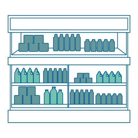 supermarket fridge with products vector illustration design