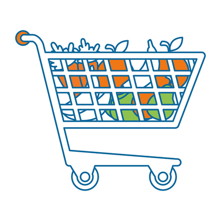shopping cart with vegetables vector illustration design