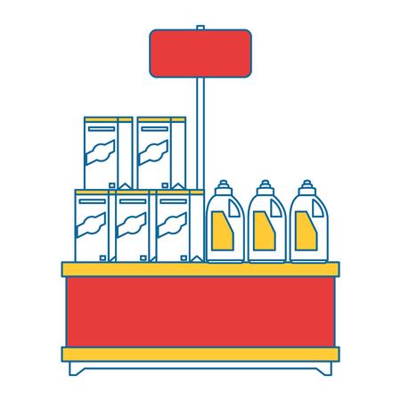 スーパー マーケットの棚の製品とベクトル イラスト デザイン