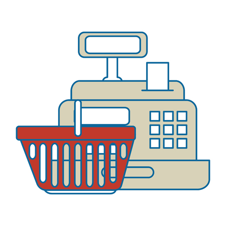 supermarket cash machine with shopping basket vector illustration design