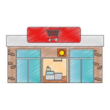 supermarket building front icon vector illustration design Illustration