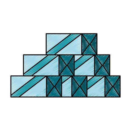 Scatole di imballaggio di imballaggio isolato icona illustrazione vettoriale di progettazione Archivio Fotografico - 87998302