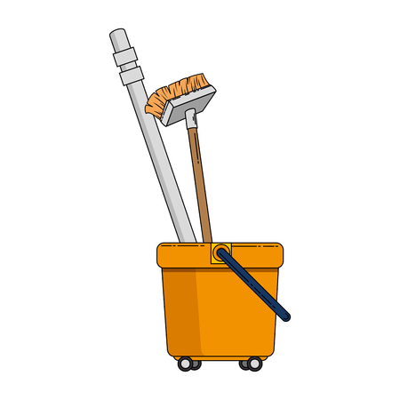 toilet trolley with broom vector illustration design