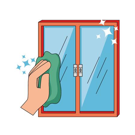 布ベクトル イラスト デザインで窓を拭く手