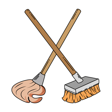 Mop en brush icon vector illustratie ontwerp Stockfoto - 87998357
