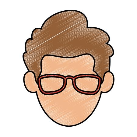 젊은이 머리 아바타 캐릭터 벡터 일러스트 디자인 스톡 콘텐츠 - 87998363