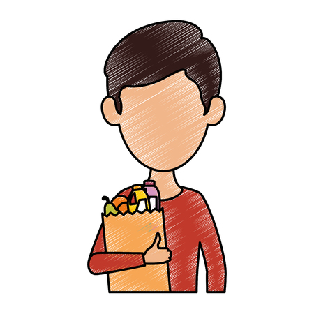 man with bag of groceries vector illustration design Illustration