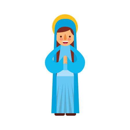 blessed holy virgin mary christmas celebration icon vector illustration Stock Vector - 88078599