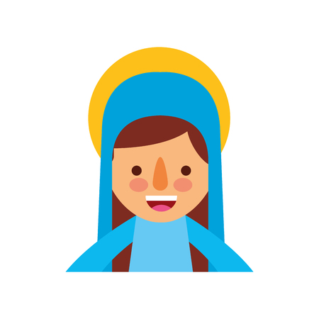 Bendita ilustración de vector de icono de celebración de Navidad santa virgen maría Foto de archivo - 88078601