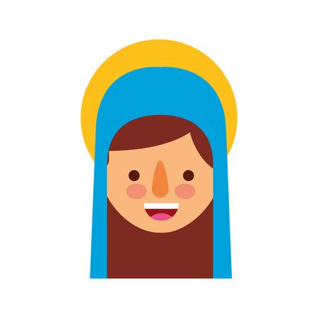 Bendita ilustración de vector de icono de celebración de Navidad santa virgen maría Foto de archivo - 88078606
