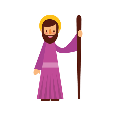 saint joseph vader spirituele cartoon kerst vectorillustratie Stock Illustratie