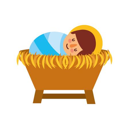 Cartoon schattige baby Jezus Christus in de wieg Kerstmis afbeelding vectorillustratie