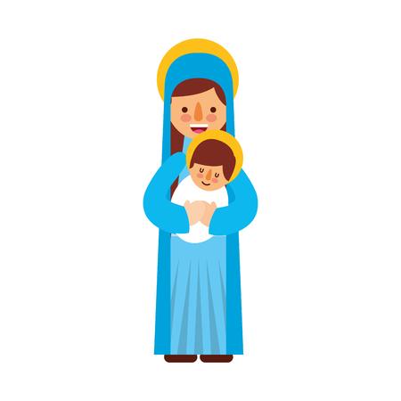virgin mary holding baby jesus christian and christmas illustration Ilustração