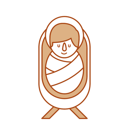 cartoon cute baby jesus christ in the crib vector illustration