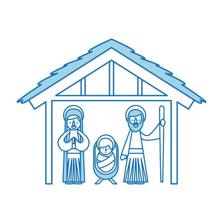 전통 가족 크리스마스 말 구수 현장 아기 예수님 처녀 메리와 세인트 조셉 벡터 일러스트 레이션 일러스트