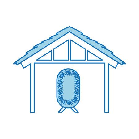 wooden hut house and crib manger design image vector illustration Illustration