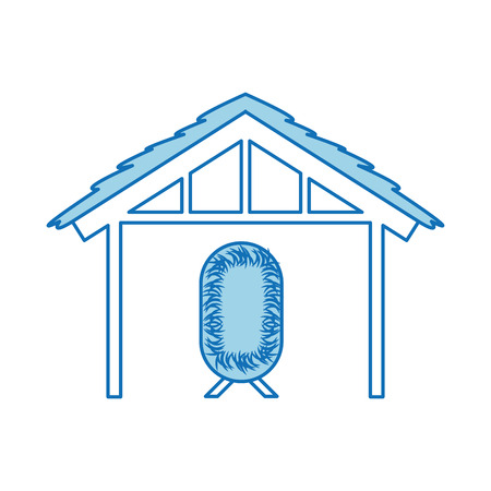 wooden hut house and crib manger design image vector illustration 向量圖像