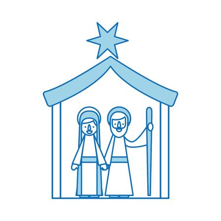 traditional family christmas manger scene virgin mary and saint joseph vector illustration