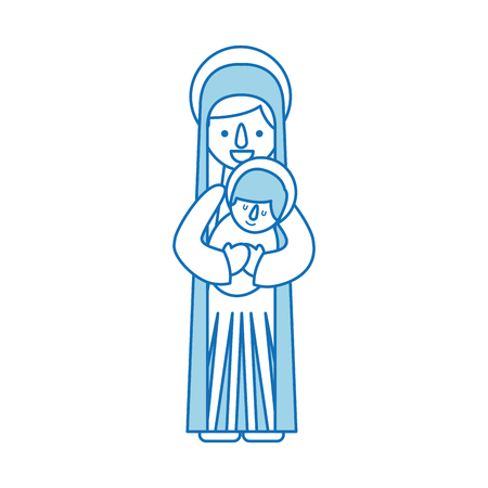 virgin mary holding baby jesus christian and christmas illustration 向量圖像