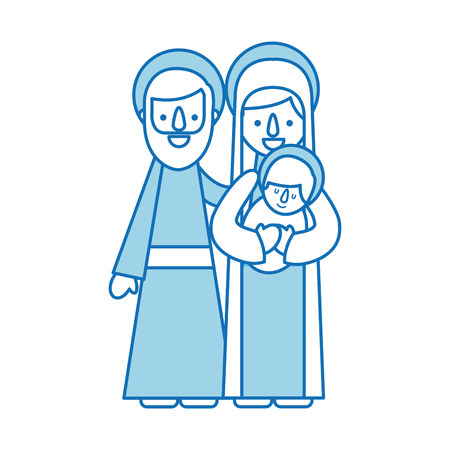 nativity scene of joseph and mary holding baby jesus vector illustration Ilustrace