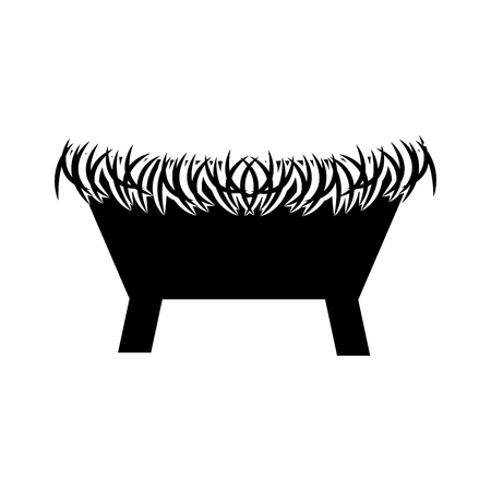 straw cradle manger christianity element icon vector illustration