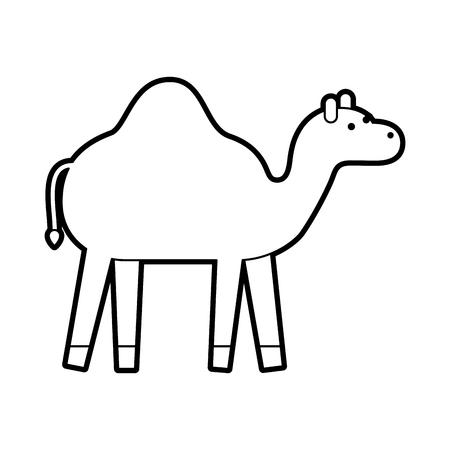 camel animal manger christmas cartoon vector illustration