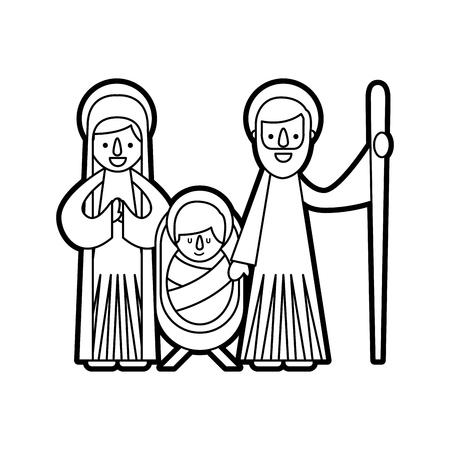 크리스마스 성 탄 장면 거룩한 가족 예수님 메리와 조셉 일러스트