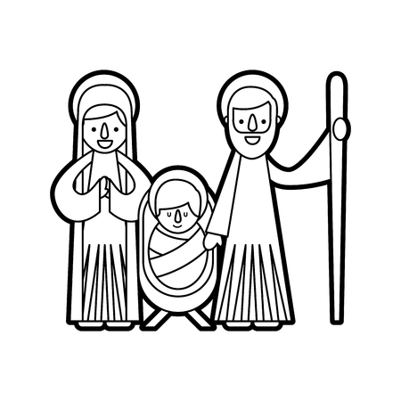 christmas nativity scene holy family jesus mary and joseph Ilustrace