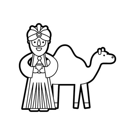Cartoon wijs koning met kameel manger tekens Stockfoto - 88079524