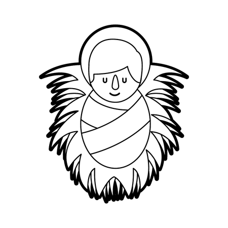 cartoon cute baby jesus christ in the crib christmas image vector illustration