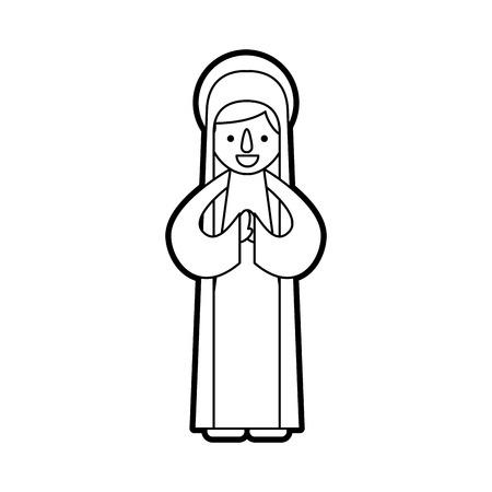 축복받은 거룩한 처녀 메리 크리스마스 축하 아이콘 벡터 일러스트 레이션