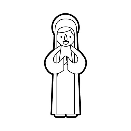 blessed holy virgin mary christmas celebration icon vector illustration Stock Vector - 88096065