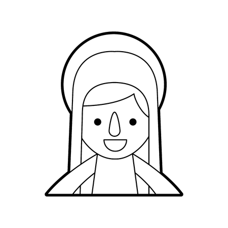 blessed holy virgin mary christmas celebration icon vector illustration Banco de Imagens - 88096069
