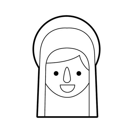 Bendita ilustración de vector de icono de celebración de Navidad santa virgen maría Foto de archivo - 88096067