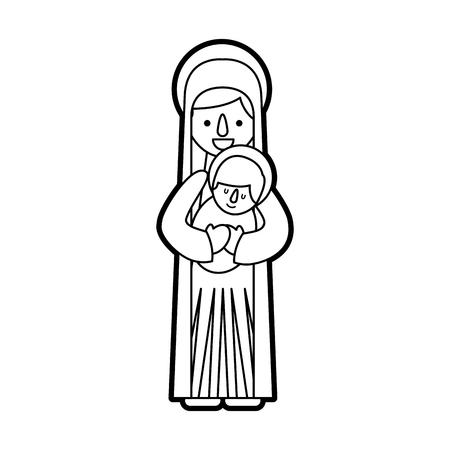 聖母マリア保持赤ちゃんイエス キリスト教とクリスマス ベクトル イラスト