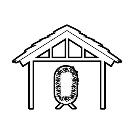 목조 오두막 집 및 침대 요정 디자인 이미지 벡터 일러스트 레이 션