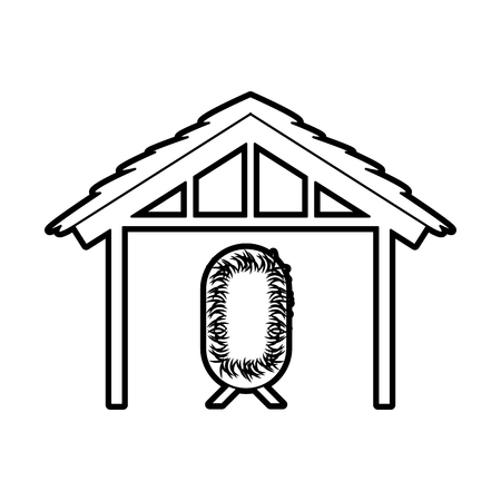 wooden hut house and crib manger design image vector illustration Illustration