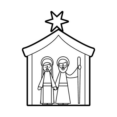 전통, 크리스마스, 처녀, 현장, 처녀, 메리, 성인, 조셉, 벡터, 일러스트 레이션,