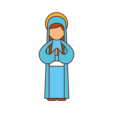 blessed holy virgin mary christmas celebration icon vector illustration Banco de Imagens - 88082993