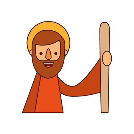 saint joseph father spiritual cartoon christmas vector illustration