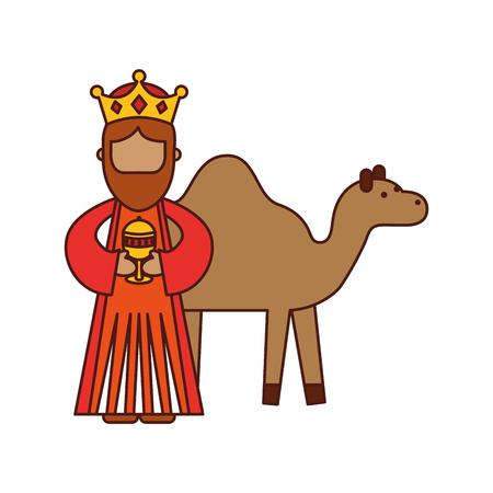 cartoon wijs koning met kamelen manger tekens vector illustratie