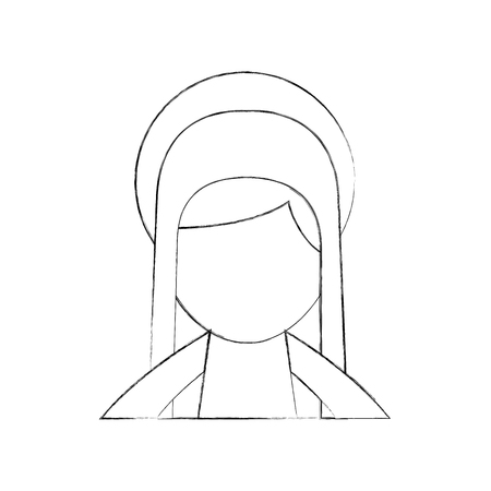 blessed holy virgin mary christmas celebration icon vector illustration Banco de Imagens - 88085049