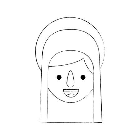 Bendita ilustración de vector de icono de celebración de Navidad santa virgen maría Foto de archivo - 88080327