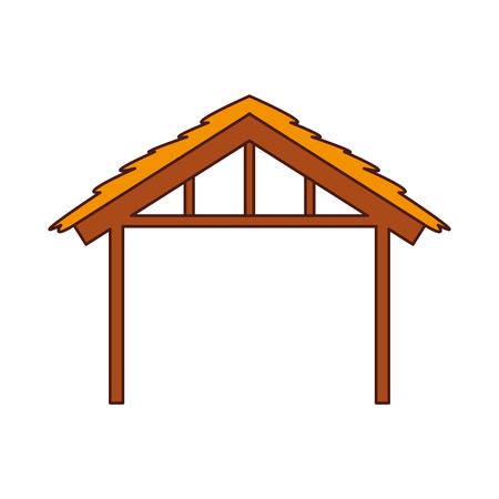 wooden hut house manger design image vector illustration