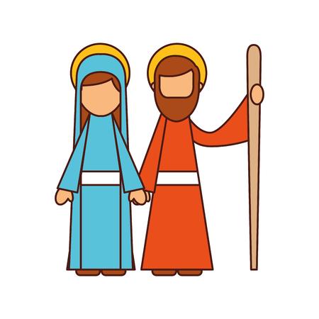 출생 버진 메리와 조셉 축복받은 벡터 일러스트 레이션 일러스트